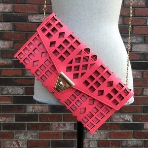 NWOT Crossbody Purse Hot Pink Geometric Cut Out